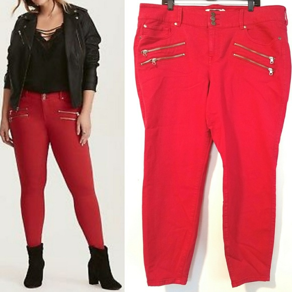 e722560044522 torrid Denim - Torrid Red Multi Zip Jeggings - NWOT